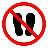No camine ni se pare aquí símbolo de signo sobre fondo blanco. vector