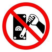 No toque a los hombres que trabajan signo de símbolo sobre fondo blanco. vector