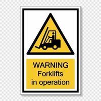 Símbolo de advertencia de carretillas elevadoras en funcionamiento firmar sobre fondo transparente vector