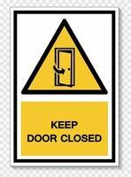 Keep Door Closed Symbol Sign vector