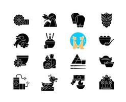 Chinese holidays black glyph icons set on white space vector