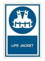 Wearing a life jacket for safety Symbol Sign vector