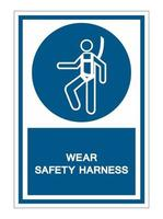Wear Safety Harness Symbol Sign vector