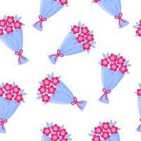 patrón sin fisuras de ramo de flores para la boda o el día de san valentín. vector