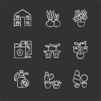 Categorías de tiendas de jardinería iconos de tiza blanca sobre fondo negro vector