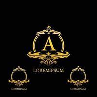 Adorno de oro colorido abstracto letra a diseño de logotipo vector