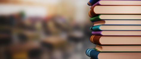 Books on blur background photo