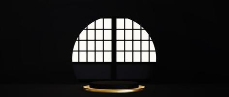 pedestal aislado sobre fondo negro con marco dorado foto