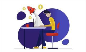 desarrollo de negocios y puesta en marcha. éxito y mejora del trabajo. productividad, eficiencia de producción, concepto de calificación. encabezado de la página de inicio del sitio web plantilla de página web de aterrizaje vector
