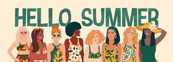 Vector illustration of women in bright swimsuit. Young girls with different skin colors.