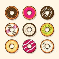 Top view cute cartoon colorful sweet donuts various style toppings vector