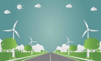 Ecología de fábrica, icono de la industria, turbinas eólicas con árboles y energía limpia del sol con ideas de concepto ecológico vial ilustración vectorial. vector