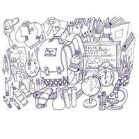 back to school doodle sketch vector