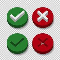 símbolo sí o no icono, 3d, verde, rojo sobre fondo transparente ilustración vectorial. vector