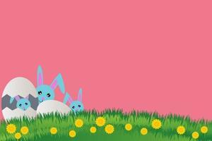 postal para el día feliz de pascua, conejo con huevos, hermoso fondo de hierba vector