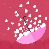 El corazón blanco está en un hermoso paraguas rosa sobre fondo rosa. para la tarjeta de felicitación del día de San Valentín. vector
