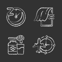 Recommendations to improve sleep chalk white icons set on black background vector