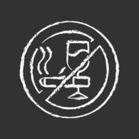 No alcohol and cigarettes chalk white icon on black background vector