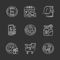 razones de insomnio conjunto de iconos de tiza blanca sobre fondo negro vector