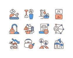 conjunto de iconos de color rgb de gestión de residuos vector