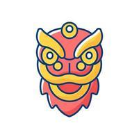 Dragon dance RGB color icon vector