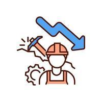 Mining industry decline RGB color icon vector