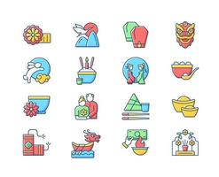 Chinese holidays RGB color icons set vector
