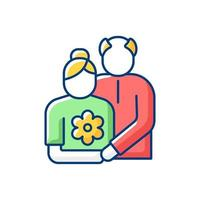 Old couple RGB color icon vector