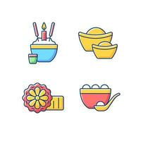 China national holidays RGB color icons set vector