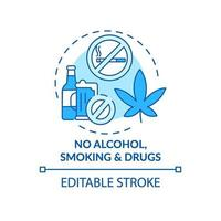 No alcohol, smoking and drugs concept icon vector
