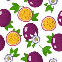 Vector cartoon seamless pattern with Passiflora or Passion fruit exotic fruits, flowers and leafs on white background