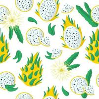 Vector cartoon seamless pattern with Dragonfruit or Yellow Pitaya exotic fruits, flowers and leafs on white background