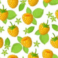 Vector cartoon seamless pattern with Yellow Raspberries exotic fruits, flowers and leafs on white background