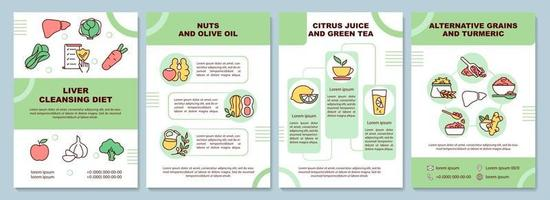 plantilla de folleto de dieta de limpieza del hígado vector