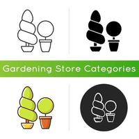 Topiaries and evergreens icon vector