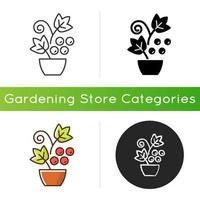 icono de arbustos y enredaderas de bayas vector