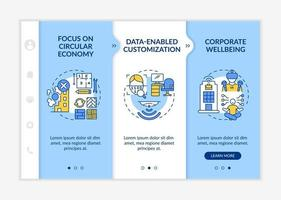 Future office design shifts onboarding vector template