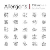 Allergy cause linear icons set vector