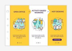 Futuristic office environments onboarding vector template