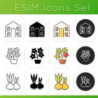 Gardening store categories icons set vector