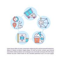 Comprehensive logistics concept line icons with text vector