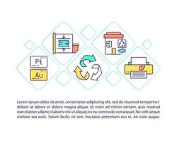 E-waste disposal concept line icons with text vector
