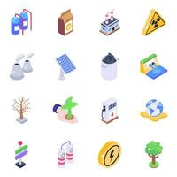 Pollution Isometric Elements vector