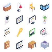 Office Furnishing Elements vector