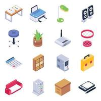Office Devices and Furnishing vector