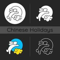 Rabbits and moon dark theme icon vector
