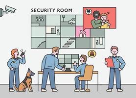 un equipo de investigadores de delitos informáticos busca delincuentes mientras ve cctv. Ilustración de vector mínimo de estilo de diseño plano.