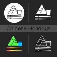 Chinese chopsticks dark theme icon vector