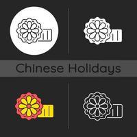 Mooncakes dark theme icon vector