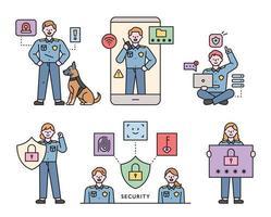 personajes de escuadrón de delitos cibernéticos. Ilustración de vector mínimo de estilo de diseño plano.